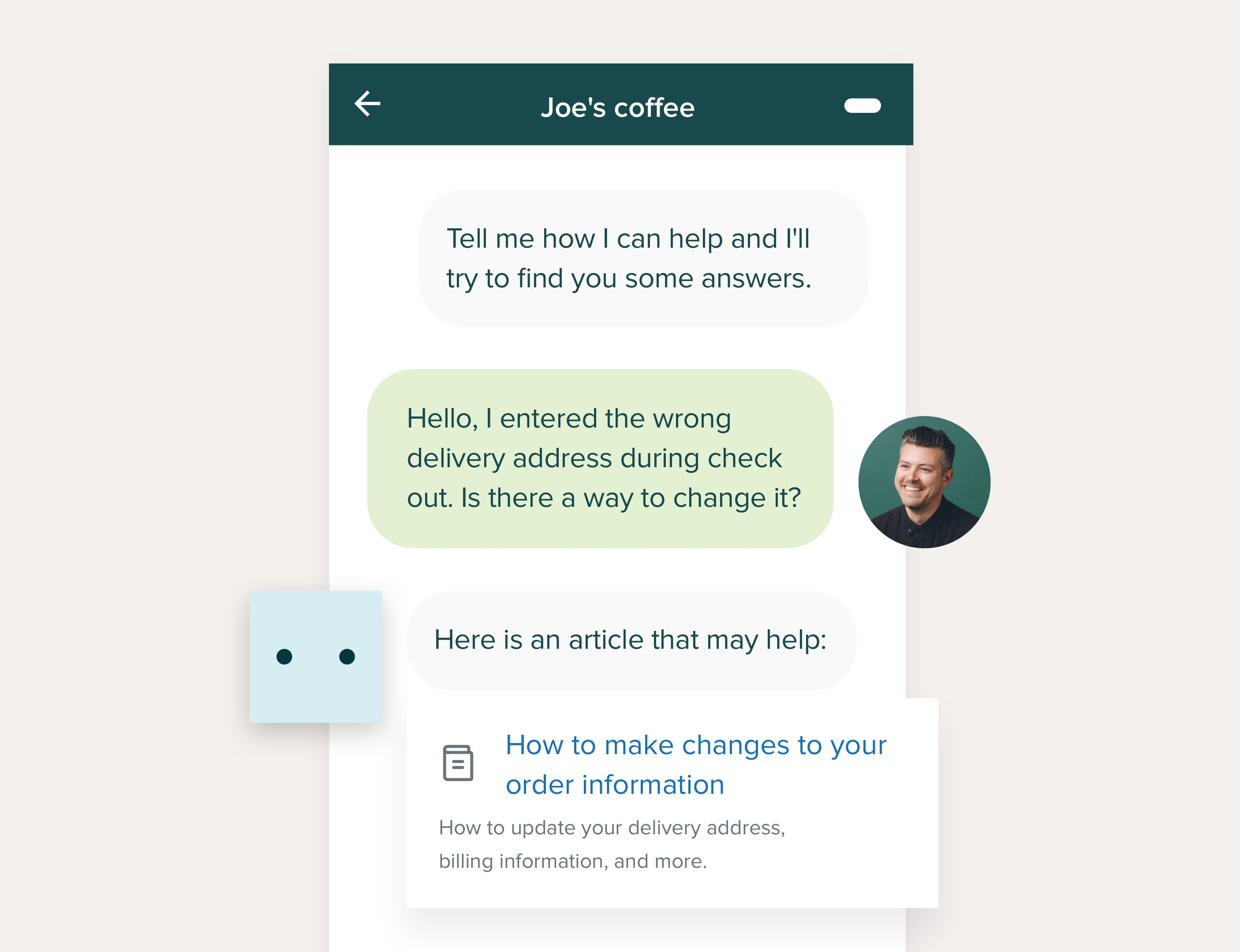 screenshot of a self-service chatbot interface