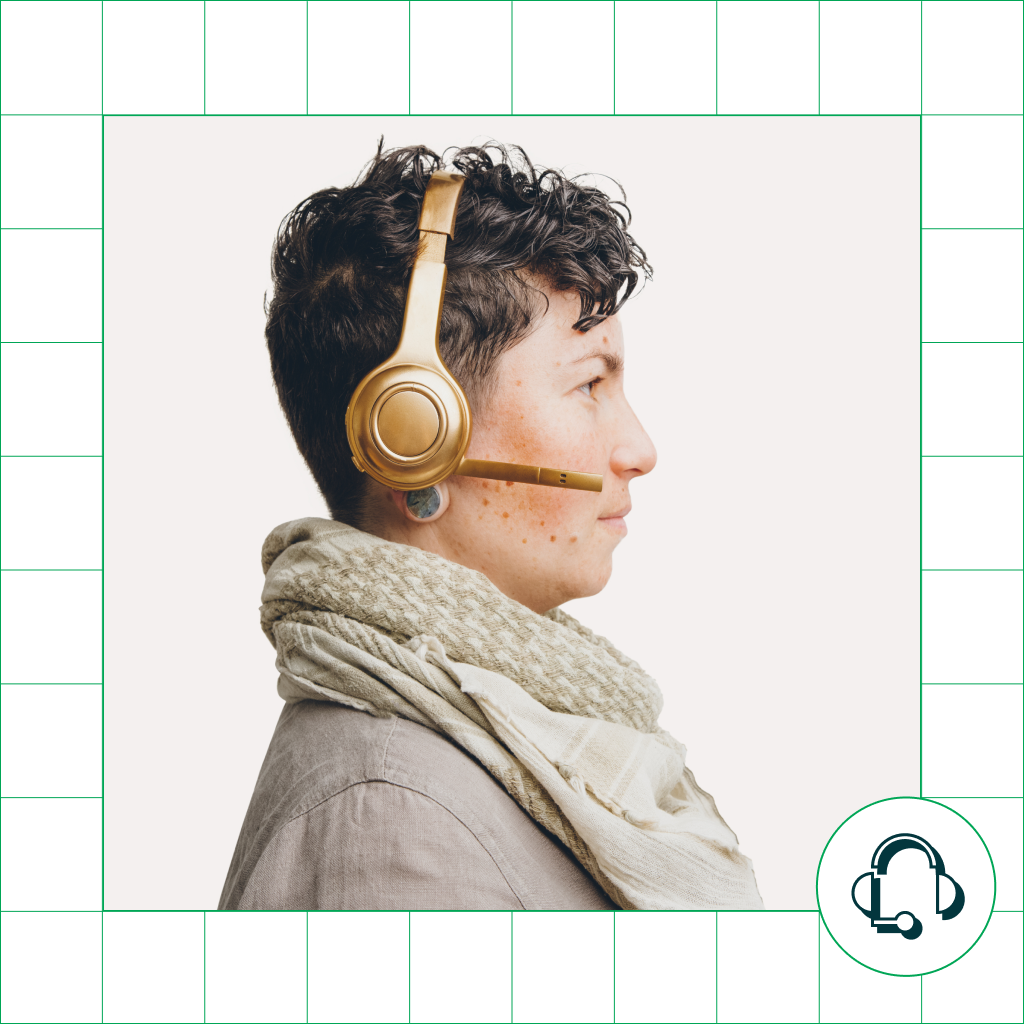 person in profile view with headset on