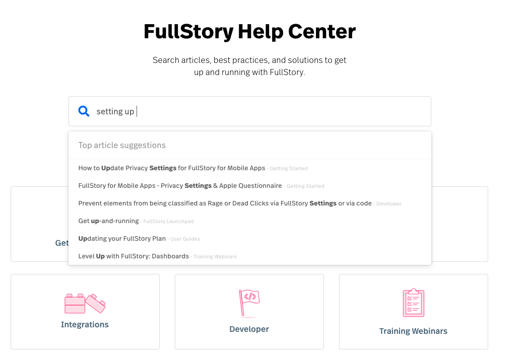 screenshot of FullStory's AI-powered help center