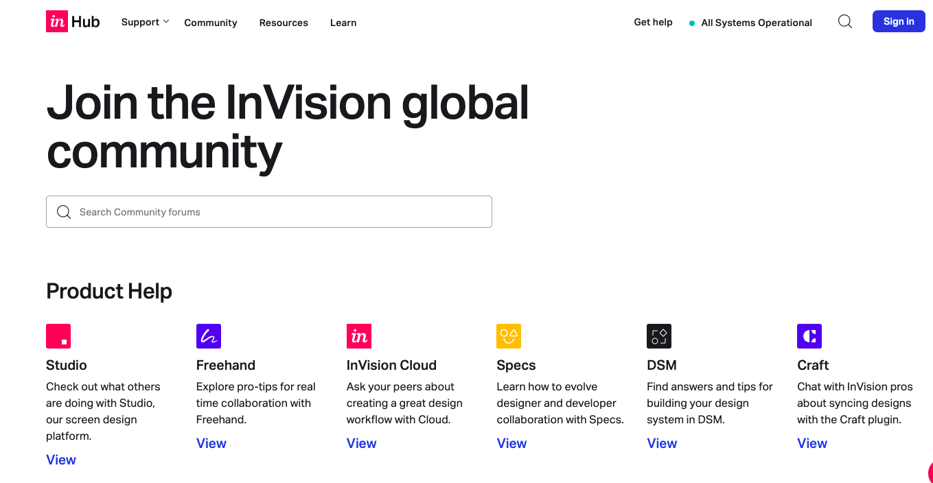 screenshot of the InVision community forum