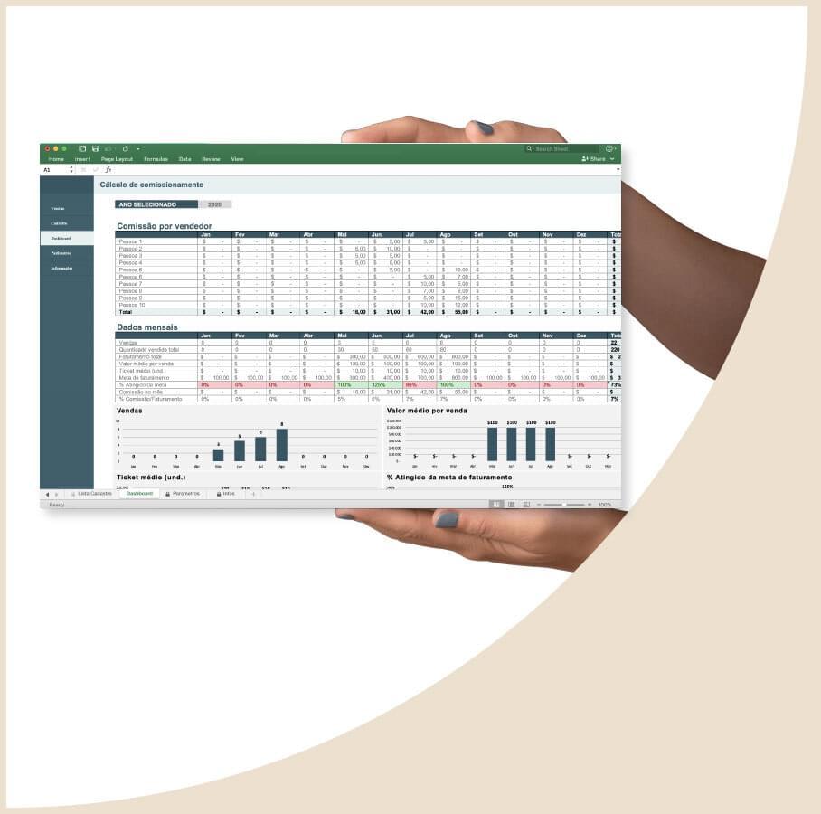 Planilha de controle de vendas e comissões