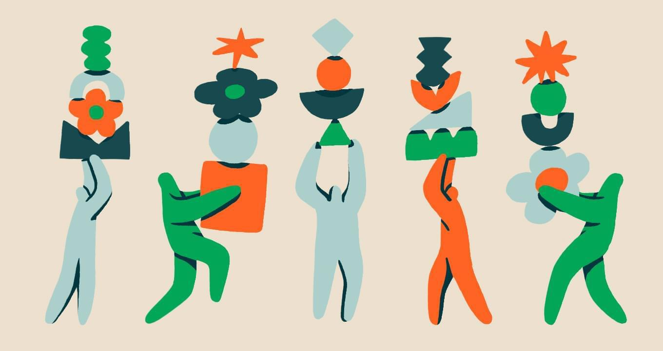 Abstract illustration showing four people, each holding various shapes to represent the idea of balancing multiple priorities