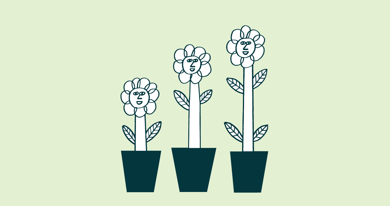 Illustration showing three flowers, each one taller than the last, demonstrating the idea of building customer loyalty
