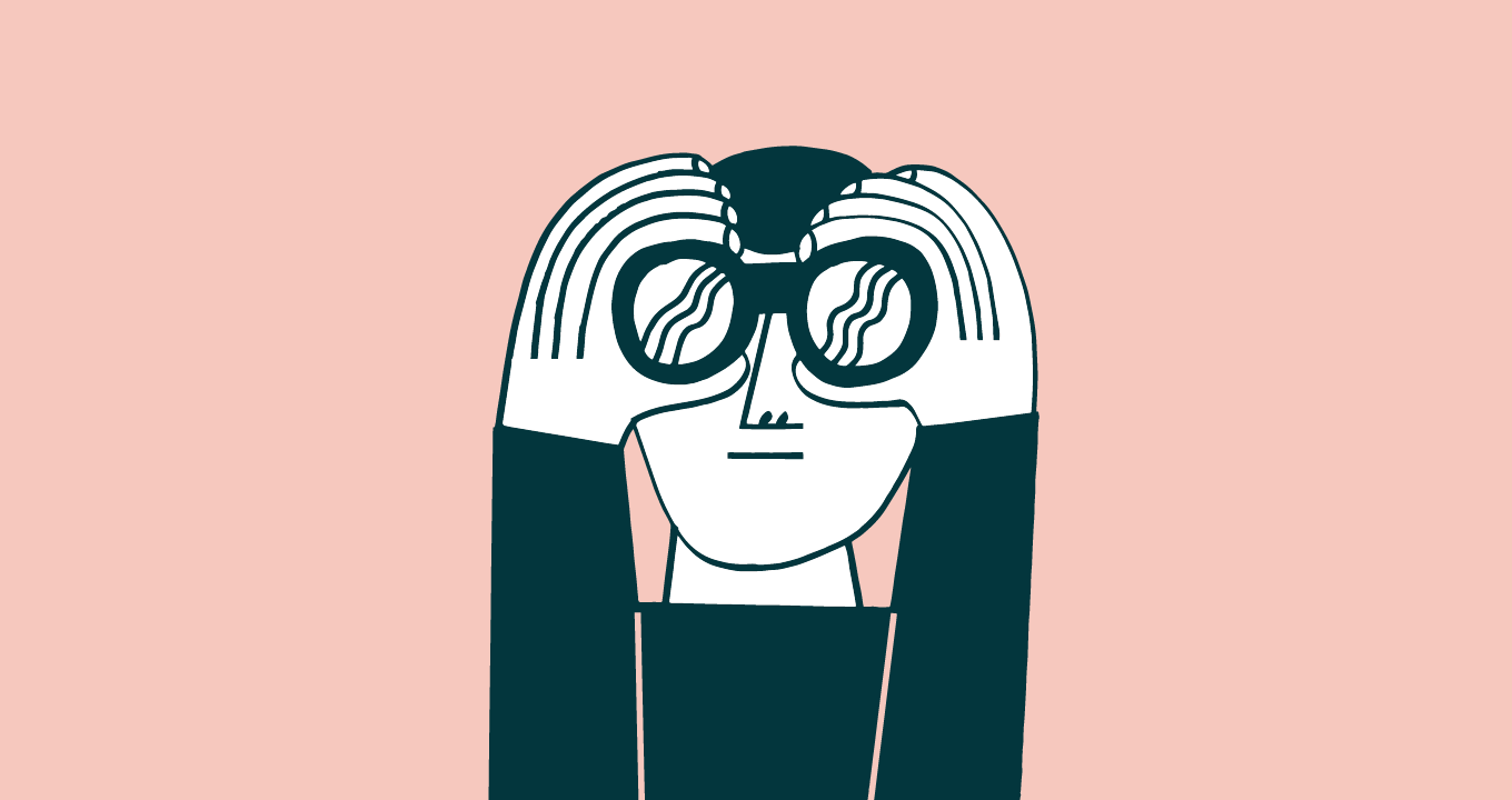 Illustration of a person looking out at something with binoculars, representing a person investigating their customer churn rate