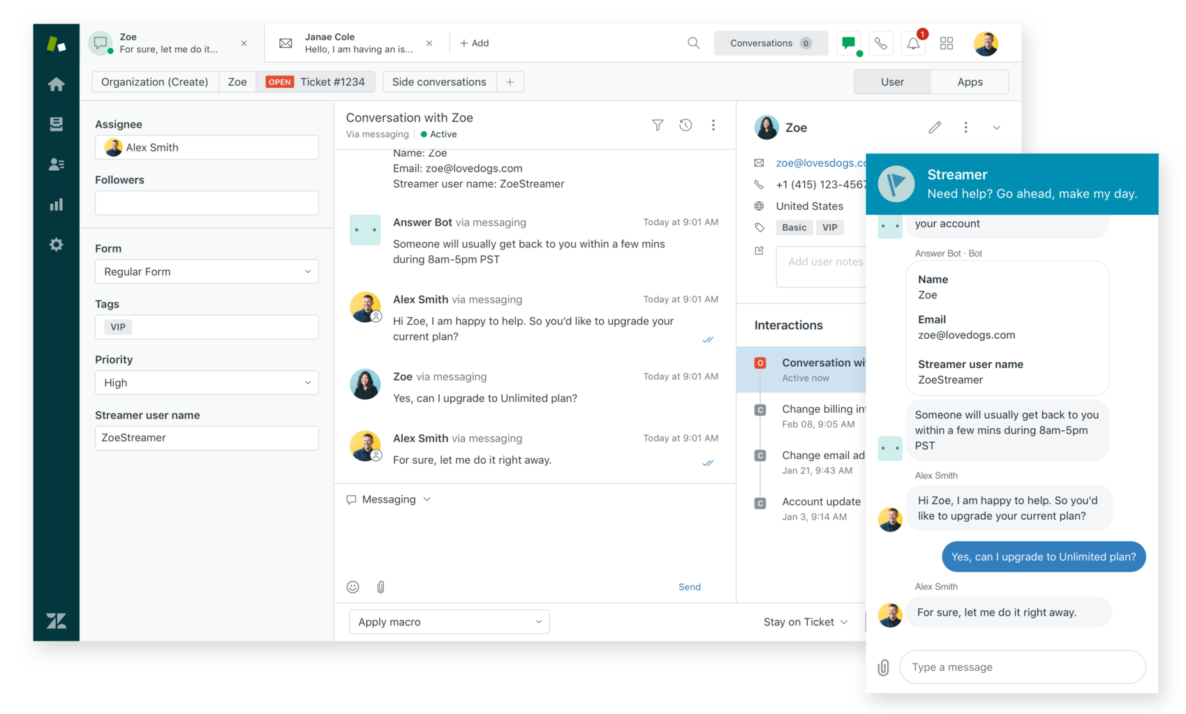 All messaging conversations flow into Zendesk's unified agent workspace to make support teams more efficient.