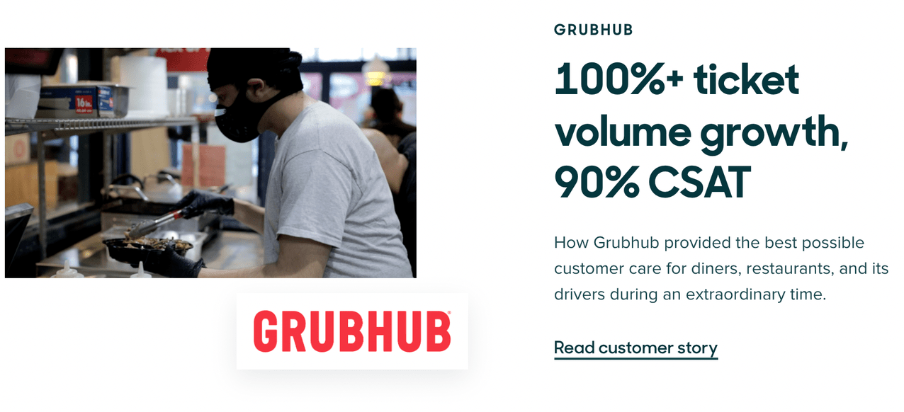 A timely customer testimonial from Grubhub