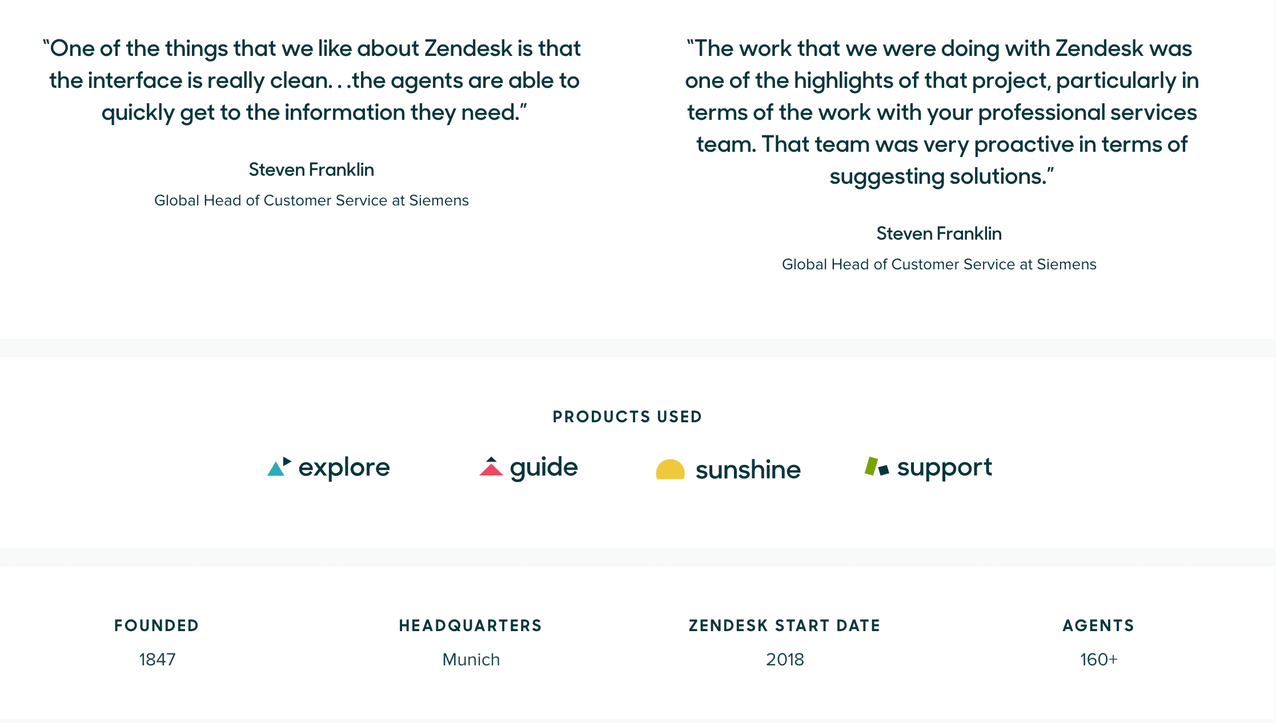 Stats and quotes displayed in a typical Zendesk customer testimonial article