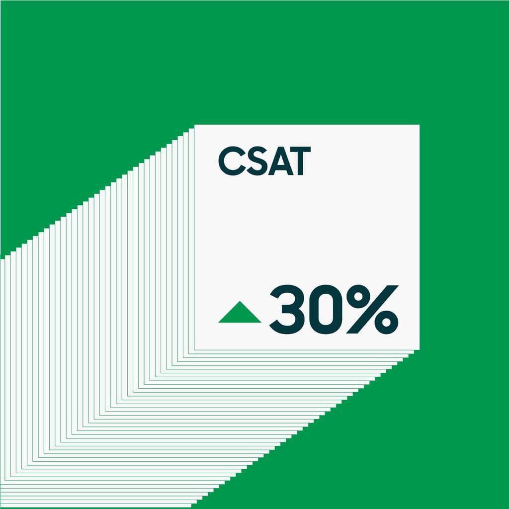 Stock ticker arrow pointing up to acronym CSAT