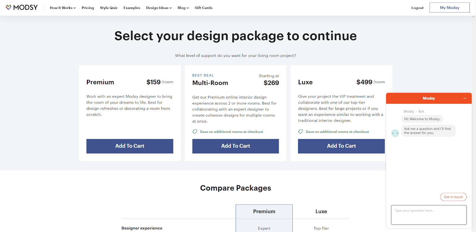 Zendesk web sidget on Modsy pricing page