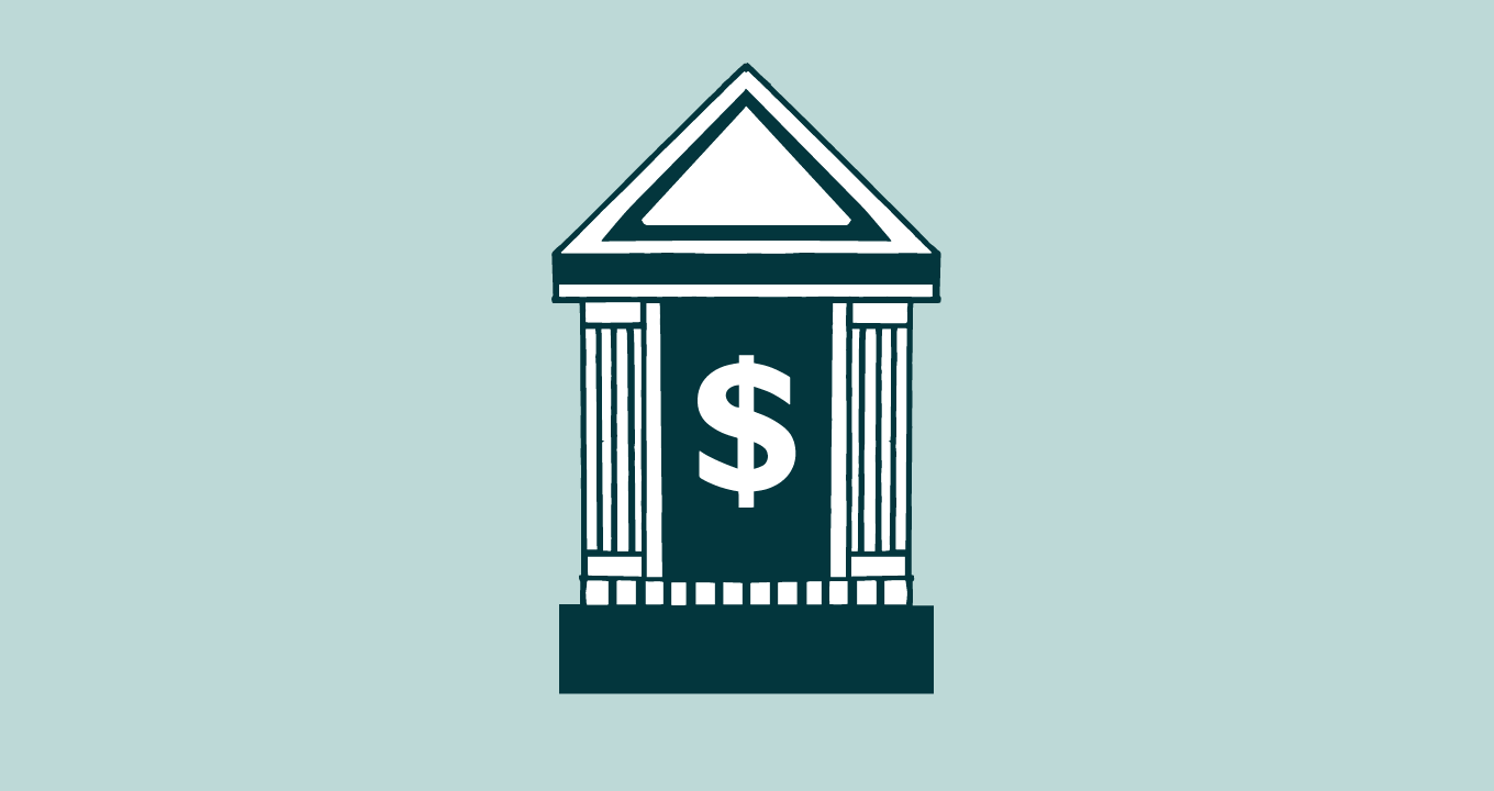 Illustration showing a building with a dollar sign on it, representing a bank or financial institution