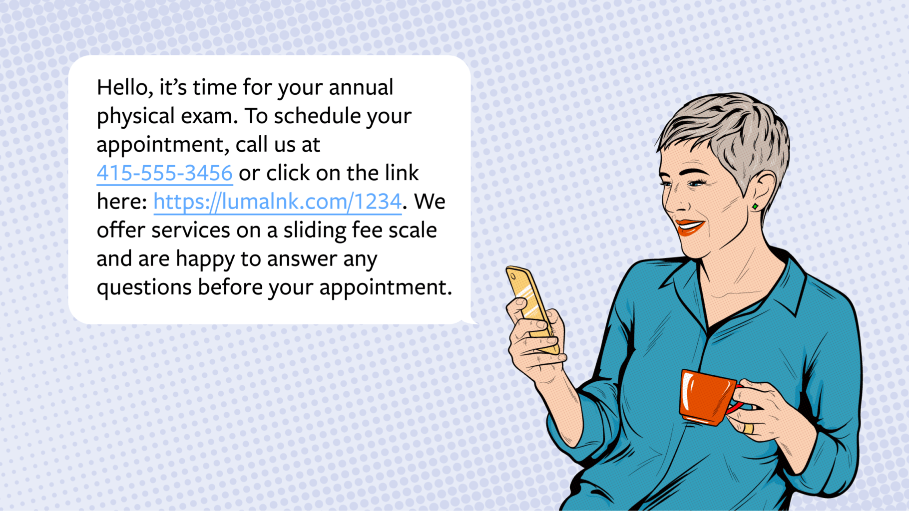 Illustration of a person looking at their phone, with copy showing a notification that it's time for them to have their annual exam