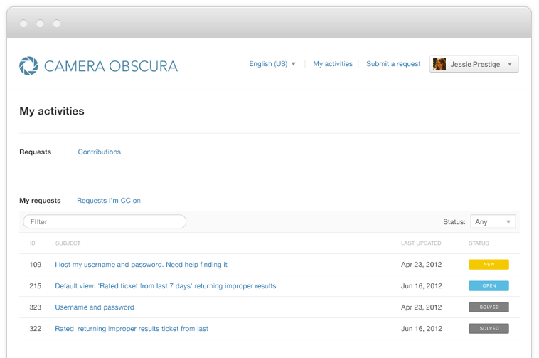 Camera Obscura's help center example of Zendesk's FAQ software.