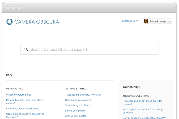 Camera Obscura's help center example of an internal knowledge base through Zendesk.