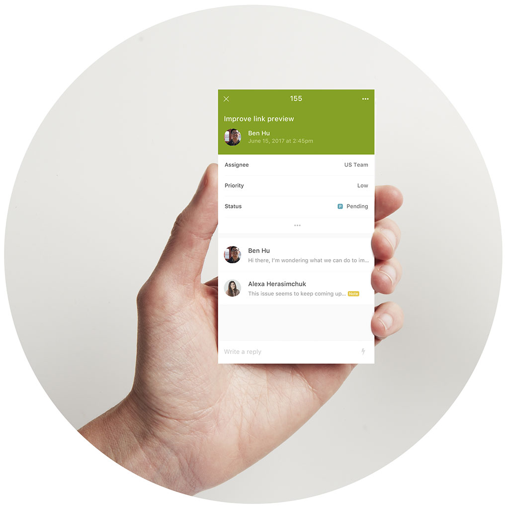 Zendesk Support's help desk software handheld view