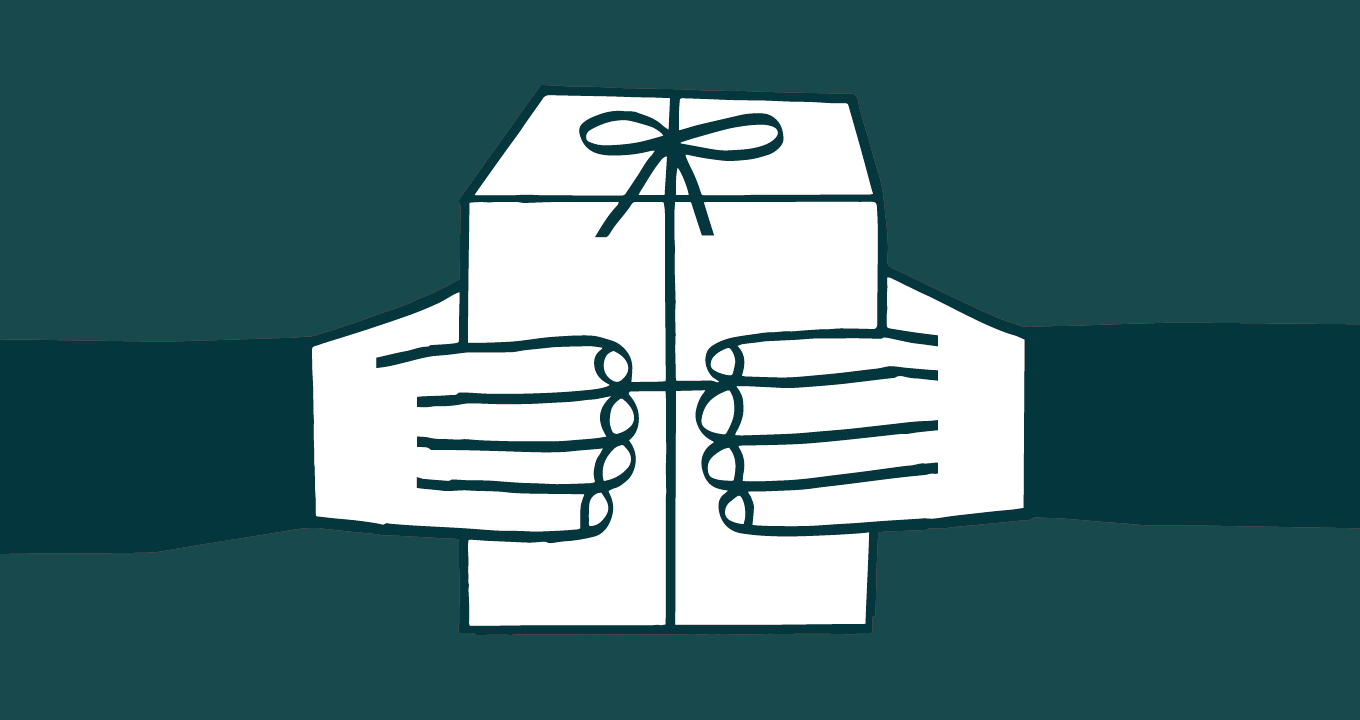 Illustration showing two hands holding a wrapped gift
