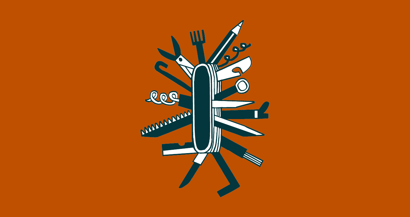 An illustration of a multi-tool similar to a Swiss Army knife