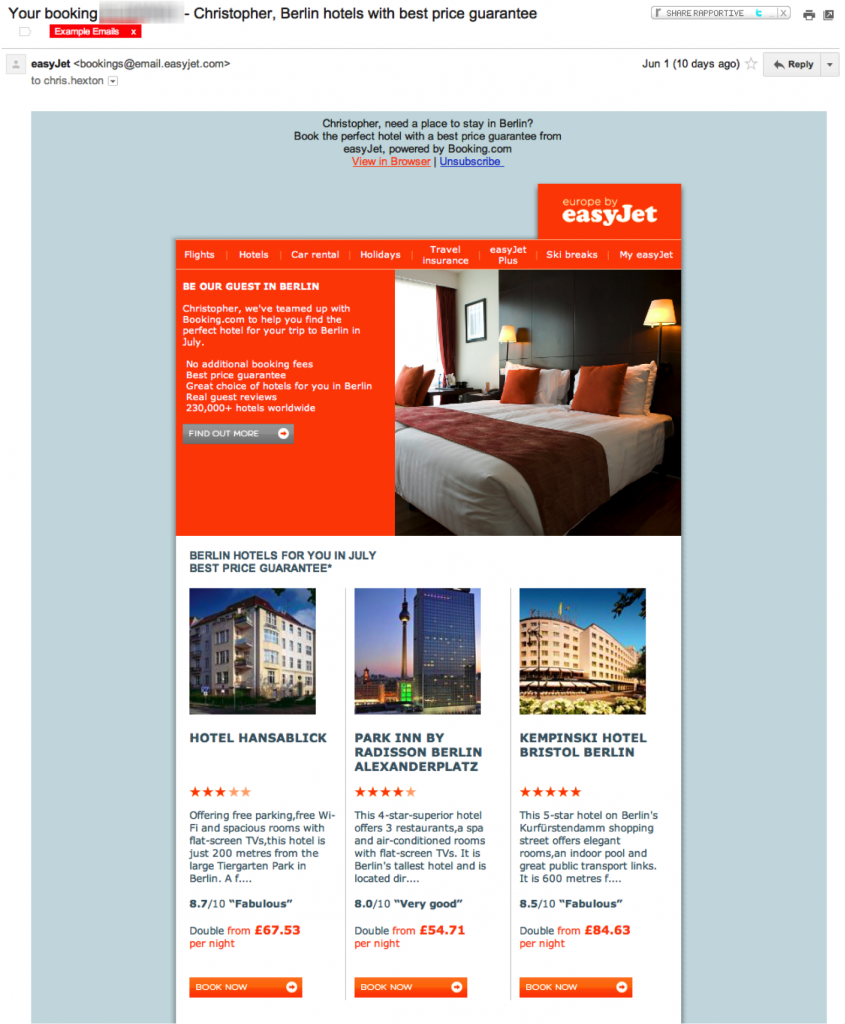 email marketing easyjet